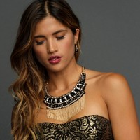 Sale-gold Fringe Statement Necklace