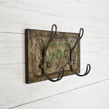 Rustic License Plate Double Hook