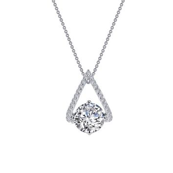 Sterling Silver Simulated Diamond Solitaire Necklace with Curved V Pave Bale