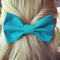 Turquoise BIG hair bow