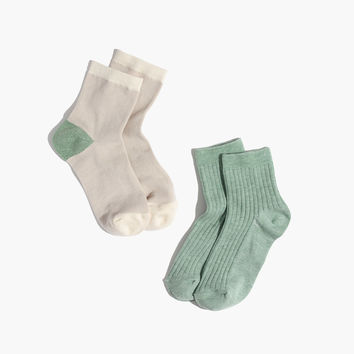 Two-Pack Shimmer Colorblock Ankle Socks