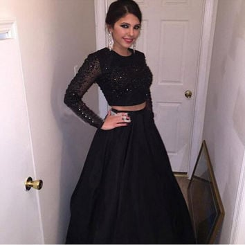 Long Sleeve Beading A-Line Prom Dresses