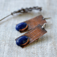 Artisan copper earrings - mixed metal earrings - brown blue earrings - howlite lapis copper sterling silver - handmade jewelry OOAK by Alery