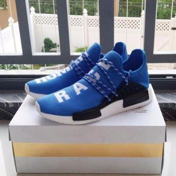 Beauty Ticks Pharrell Williams X Adidas Consortium Nmd Human Race Blue Sport Runni