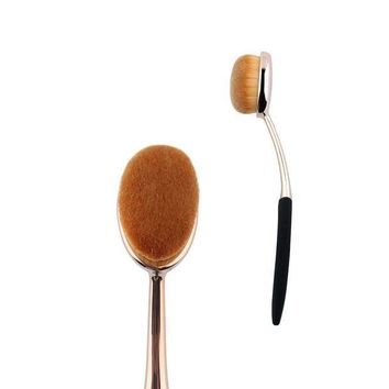 PEAPLO3 1 pcs Rose Gold Oval Makeup Brushes Synthetic Hair Professional Foundation Make Up Brushes For Liquid Products