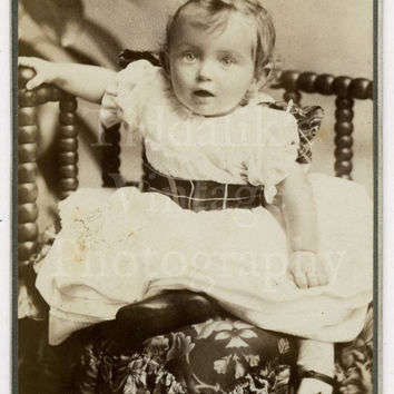 CDV Carte de Visite Photo Victorian Cute Baby Girl Portrait by Wills of Cardiff Wales