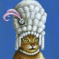 """Amy Giacomelli Cat art ... Abstract cat Art ... Let them Eat Cake, 8 1/2"""" x 11"""" Print of cat painting"""