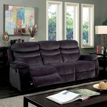 Renee Transitional Luxurious Plush Recliner Sofa, Gray