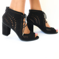 Empire Laser Cut Booties in Black