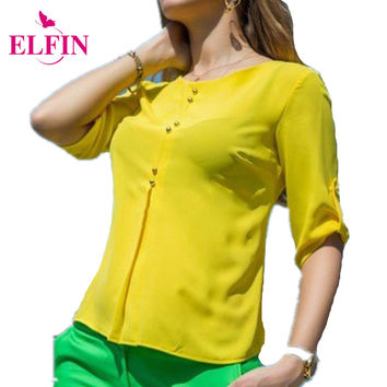 Summer Women Chiffon Blouses Button Loose Shirt Blouse half Sleeve O neck Solid Ladies Crop Top Tee Shirt Femininas LJ4733A