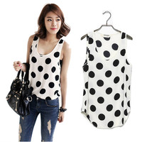 Casual Womens Polka Dot Chiffon Tops Vest Loose Sleeveless Shirt Blouse T-shirt