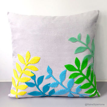 Spring Leaves Decorative Light Grey Pillow Cover. 17inch Contemporary Botanical Cushion Cover. New Home Gift. Throw Pillow.Housewarming Gift