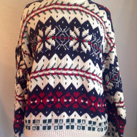 Cream Navy Blue Burgundy Oversized Holiday Christmas Snowflake Hipster Sweater