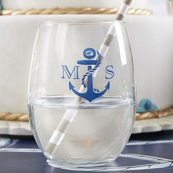 Personalized 9 oz. Stemless Wine Glass - Kate's Nautical Wedding Collection