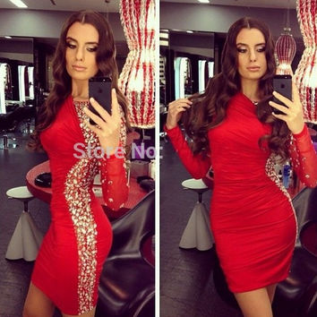 Sexy 2016 Red Long Sleeve Cocktail Dresses Crystal Chiffon Coctail robe de Cocktail Party Dresses vestido de festa curto
