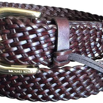 Michael Kors Women's Belt Braided Leather Choco w/ Gold Buckle Sz Large New