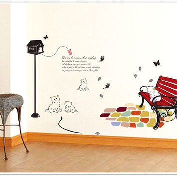 2013 New Colored Wicker Chair Cat Park 50x70cm Wall Stickers Indoor Wall Art Decals,Home Interior Decoration Free Shipping