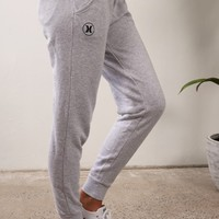 Hurley - Icon Cuffed Track Pant Heather White Wash - Womens