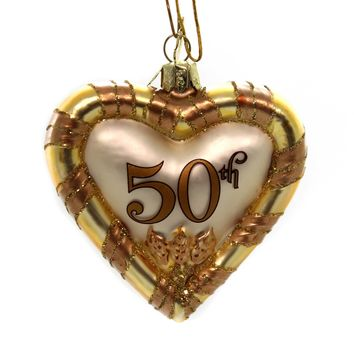 Noble Gems ANNIVERSARY HEART ORNAMENT Glass Marriage Love 50Th Nb0198 Gold