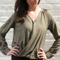 Button Front Crossover Blouse - Olive Green