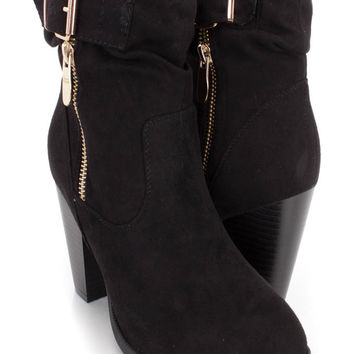 Black Slouchy Strap Single Sole Booties Faux Suede