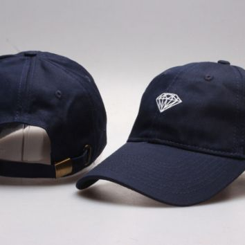 Navy  Blue Diamond Embroidered Unisex Adjustable Cotton Sports Cap Hat