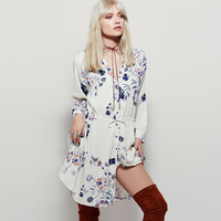 White V Neck Long Sleeve Drawstring Waist Floral Print Dress
