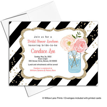 Bridal Shower Luncheon Invitations | black and gold wedding shower invites flowers | printable or printed - WLP00616
