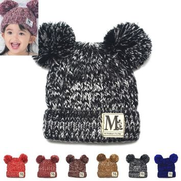Moeble New Fashion Baby Girls Boys Beanie Hats Kids Children Dual Ball Knit Sweater Cap Hats Winter Warm Knitted hats H765