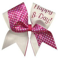 Happy Birthday Cheer Bow- White