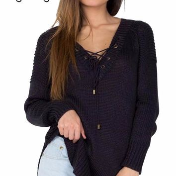 Women's Lace up Front Black Long Sleeve Knit Sweater Top
