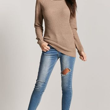 Ribbed Knit Form-Fitting Sweater