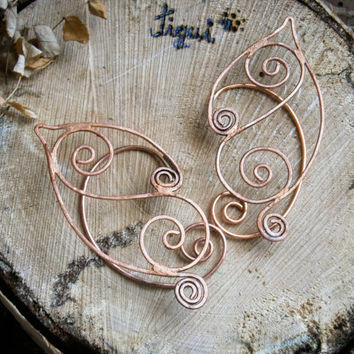 Copper elf earcuffs , elf ear cuffs, elven earcuffs , statement earrings, woodland, vulcan ears ,green, elegant, LARP,