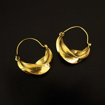 Tribal Hoop Earrings,Ethnic Brass earrings,Indian Jewelry