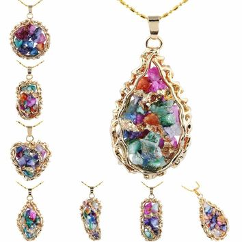 Multicolor Druzy Quartz Pendant Crystal Geode Cluster Stone Pendant with chain
