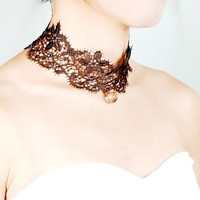 brown lace choker // crystal pendant charm necklace // punk retro vintage gothic // gift for her