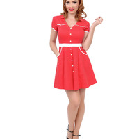 Red & White Polka Dot Western Hellbilly Fit N Flare Dress