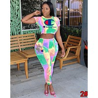Champion Newest Hot Sale Women Personality Print Short Sleeve Top Trousers Set Two-Piece Sportswear 2#