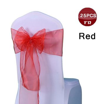 Free Shipping 25PC Colorful Organza Bows Tissue Tulle Roll Wedding Party Decoration Table Runner Organza Gauze Chair Sashes Bow