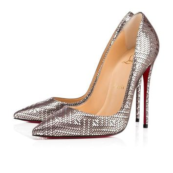 Christian Louboutin New Leather Silver Geometric So Kate Heels Pumps in Box