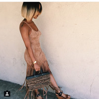 Faux Suede Fringe Dress with Spagehetti Straps