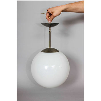 Vintage Large Frosted 12 inch Globe Ceiling Hanging Light