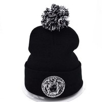 Versace Women Men Embroidery Beanies Winter Knit Hat Cap-4