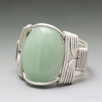 Aventurine Sterling Silver Wire Wrapped Cabochon Ring