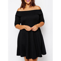 Sexy Off-The-Shoulder Half Sleeve Black Plus Size Women's Dress