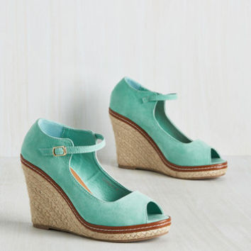 You Know the Espadrille Wedge in Mint | Mod Retro Vintage Heels | ModCloth.com
