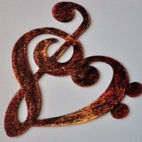 Musicality Wooden HEart ARt -Fiery