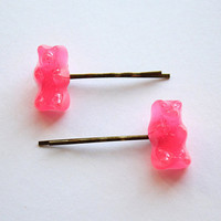Adorable Neon Pink Gummy Bear Hair Slides, Grips