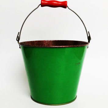 Vintage kids play bucket pail from the Soviet era (1970s) sandbox sandpit dig shovel gardening cottage country shabby rustic