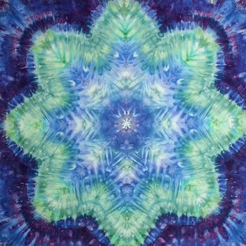 "large mandala tie dye tapestry wall hanging in green blue purple 44"" X 52"""